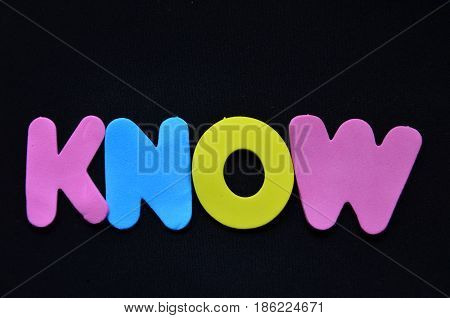 word know on a  abstract black background