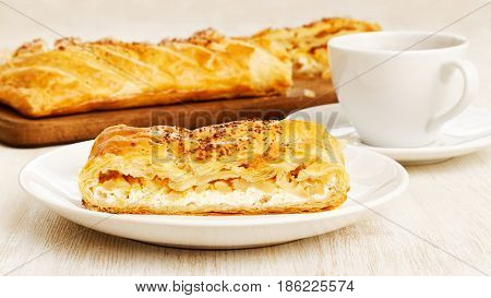 Homemade Puff Braided Pie With Cottage Cheese, Apples And Raisin