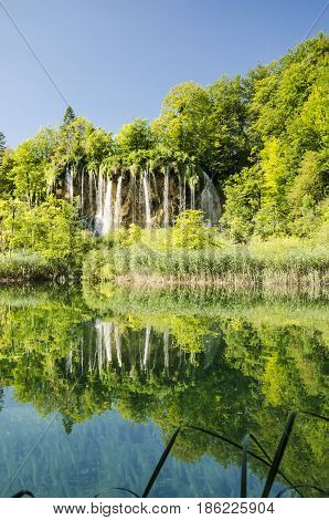 landscape of plitvice national lake park at sunset unesco heritage site plitvice croatia.