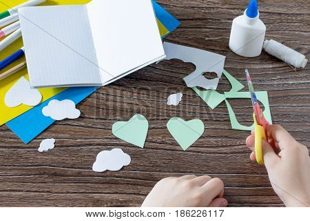 The Child Cuts Out The Details. The Child Creates A Note Pad Handmade Applique Decorated Balloon, Cr