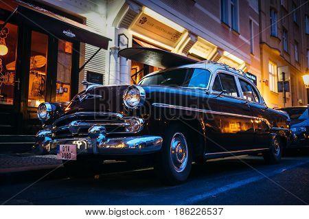 Prague, Czech Republic - May 7, 2017: An old renovated vintage car on the Prague street in Prague, Czech Republic