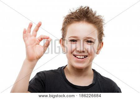 Beauty toothy smiling young teenager boy hand gesturing OK or success sign white isolated