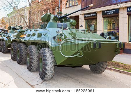 Samara Russia - May 6 2017: Russian Army BTR-82A wheeled armoured vehicle personnel carrier at the city street