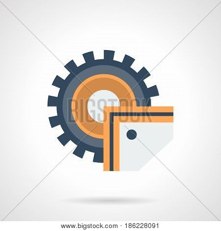 Symbol of industrial sawing machine. Equipment for metalworking, woodworking. Flat color style vector icon.