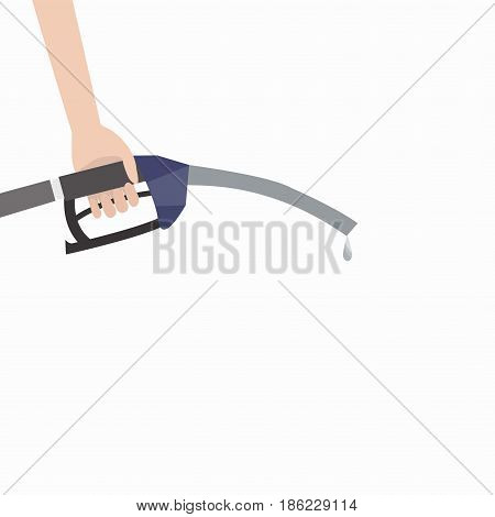 Human hand with a refueling gun on a white background