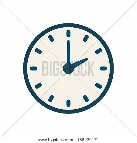 Blue flat vector clock icon, flat linear time sign