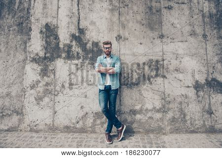 Full Length Portrait Of Young Red Bearded Man In Stylish Casual Outfit And Glasses Standing Outside