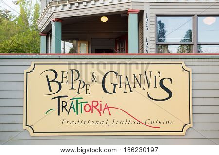 EUGENE, OR - MAY 7, 2017: Beppe and Giannis Trattoria in Eugene, Oregon is located in an historic home on the University of Oregon campus.