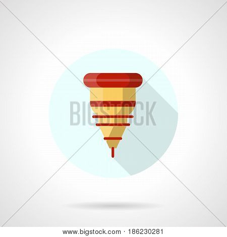 Symbol of laser machine nozzle. Industrial equipment for metal processing. Round flat design vector icon.