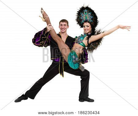 Gypsy flamenco dancer couple dancing against isolated white background in full length