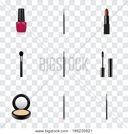 Realistic Brow Makeup Tool, Blusher, Pomade And Other Vector Elements. Set Of Maquillage Realistic Symbols Also Includes Ink, Polish, Lips Objects.