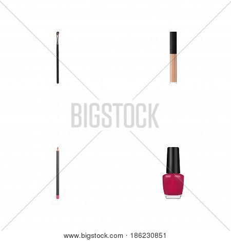 Realistic Eye Paintbrush, Varnish, Mouth Pen And Other Vector Elements. Set Of Greasepaint Realistic Symbols Also Includes Cream, Brush, Lipstick Objects.