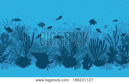 Hand drawn underwater natural elements. Coral reef horizontal seamless pattern. Blue monochrome silhouettes of corals clam and swimming tropical fishes. Undersea bottom texture.