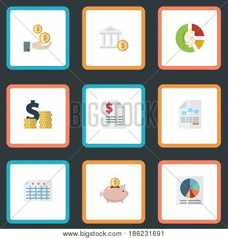 Flat Coins Pile, Stock, Bank And Other Vector Elements. Set Of Registration Flat Symbols Also Includes Accumulation, Saving, Profit Objects.