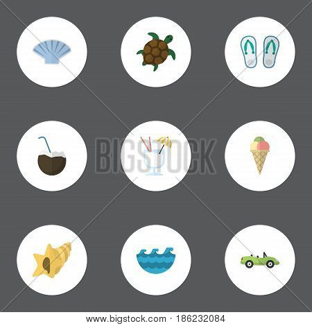 Flat Drink, Sorbet, Cocos And Other Vector Elements. Set Of Summer Flat Symbols Also Includes Alcohol, Slippers, Palm Objects.