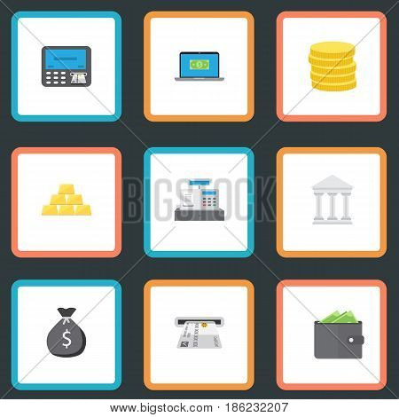 Flat Ingot, Computer, Finance Sack And Other Vector Elements. Set Of Banking Flat Symbols Also Includes Billfold, Sack, Coins Objects.