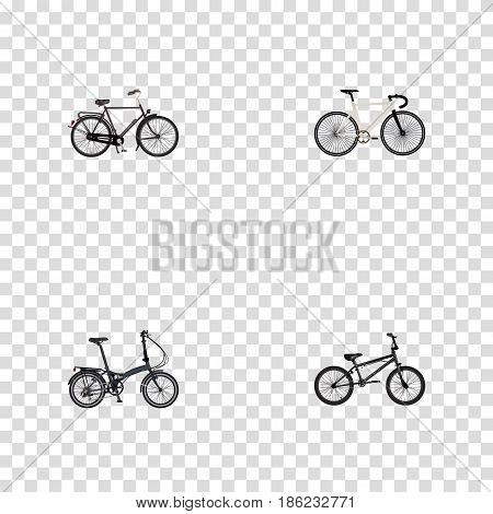 Realistic Training Vehicle, Folding Sport-Cycle, Road Velocity And Other Vector Elements. Set Of Lifestyle Realistic Symbols Also Includes Velocipede, Bicycle, Extreme Objects.