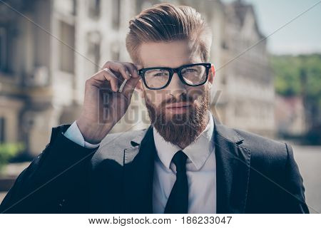 Nerdy Hot Bearded Guy In A Formal Wear And Glasses Outside. He Is So Harsh And Mature, Stylish And F