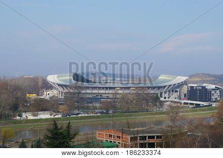 SKOPJE, MACEDONIA - MARCH 9, 2017: National Arena Philip II of Macedonia, stadium of Skopje