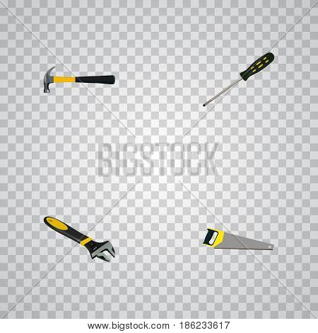 Realistic Carpenter, Hacksaw, Wrench And Other Vector Elements. Set Of Kit Realistic Symbols Also Includes Spanner, Claw, Screwdriver Objects.