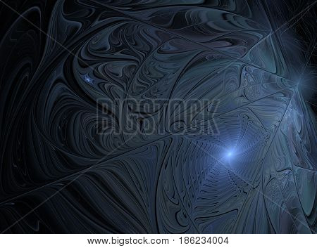 An abstract computer generated modern fractal design on dark background. Abstract fractal color texture. Digital art. Abstract Form & Colors. Sophisticated spiral winter pattern. Abstract background with soft shade with oil color techniques.
