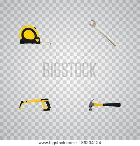 Realistic Arm-Saw, Claw, Length Roulette And Other Vector Elements. Set Of Tools Realistic Symbols Also Includes Roller, Tape, Tool Objects.