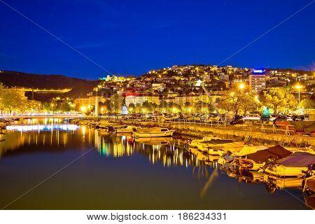Rjecina River Delta In Rijeka Evening View