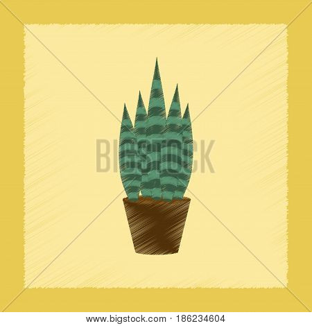 flat shading style Illustrations of plant Sansevieria