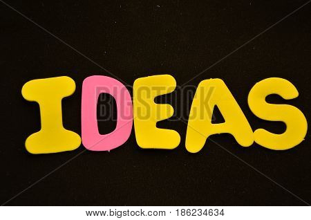 word ideas on a   abstract black background