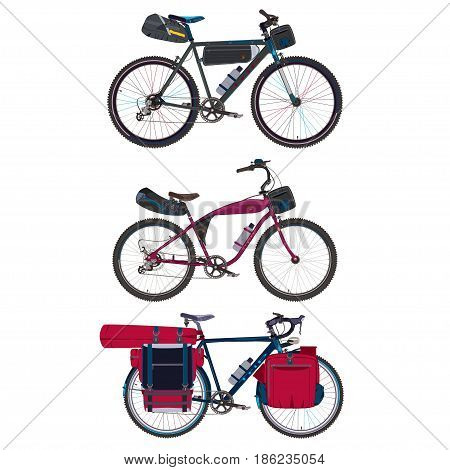 Vector set of touring bikes with saddlebag, frame bag, handlebar bag and tent. Road racing bicycles with bikepacking gear. Flat style design.