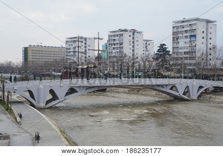 Promenade near Vardar river in Skopje, the capital of Macedonian republic
