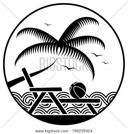 vector palm tree and deck chair on the beach in round isolated on white background