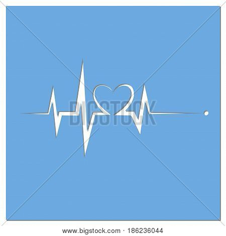 Blue heart beat. Ekg graph. Blueprint Of Electrocardiogram Last Life Sign