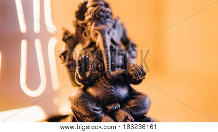 Close-up Of Ganesha. God Of Hinduism In The Form Of Figurines.