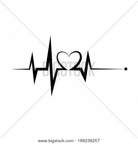 Heartbeat icon. Electrocardiogram, ecg or ekg isolated on white background.