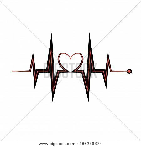 Heartbeat icon. Electrocardiogram, ecg or ekg isolated on white background.