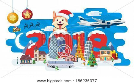 New Year and winter travel background. Christmas travel Europe winter town snow village. Traveling by plane and bus. The winter vacation. Flat Santa Claus. Year of the dog. Vector illustration