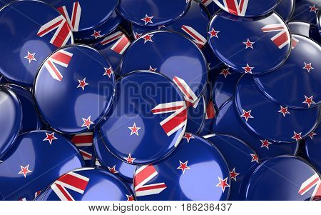New Zealand Badges Background - Pile Of New Zealand Flag Buttons.