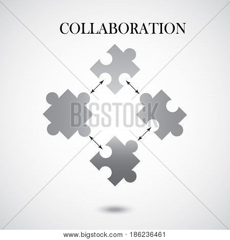 Collaboration concept with four pieces of puzzle on grey background. Infographic design with puzzle