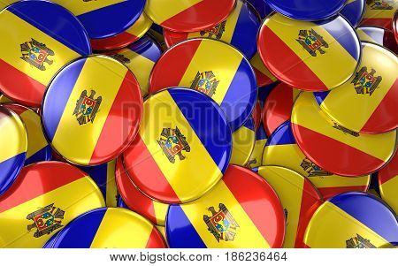 Moldova Badges Background - Pile Of Moldovan Flag Buttons.