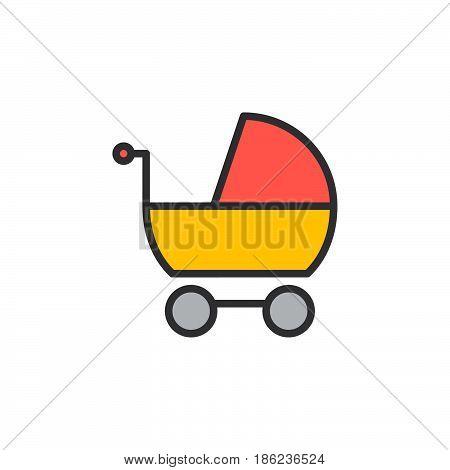 Stroller pram filled outline icon line vector sign linear colorful pictogram. Symbol logo illustration. Pixel perfect
