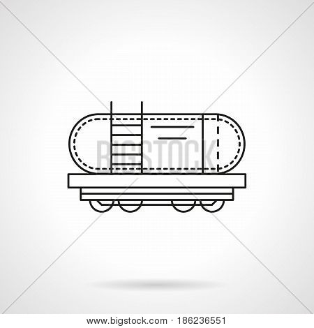 Symbol of rail tank with ladder. Railroad transportation of oil, gas, fuel. Flat black line vector icon.