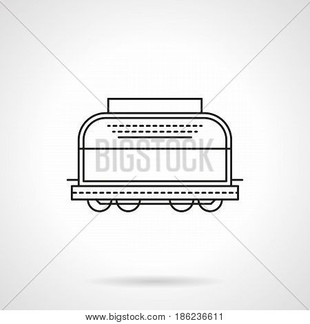 Symbol of refrigerated rail boxcar. Railroad transportation of perishable goods at lower temperatures. Flat black line vector icon.