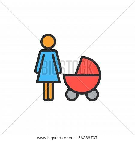 Mother with baby pram filled outline icon line vector sign linear colorful pictogram. Symbol logo illustration. Pixel perfect