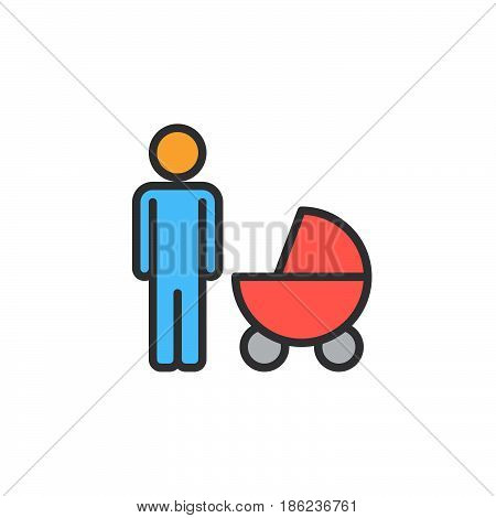 Father with baby pram filled outline icon line vector sign linear colorful pictogram. Symbol logo illustration. Pixel perfect
