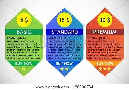 Business info graphics tabs template for presentation web design banner brochure tariff cards. Vector illustration