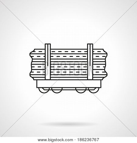 Symbol of rail car platform. Railroad transportation of wood and long freights. Flat black line vector icon.