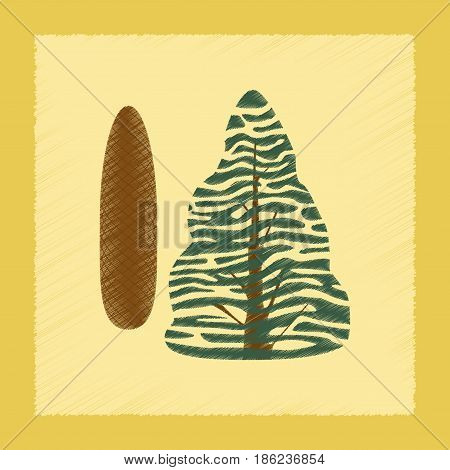 flat shading style Illustrations of plant Picea