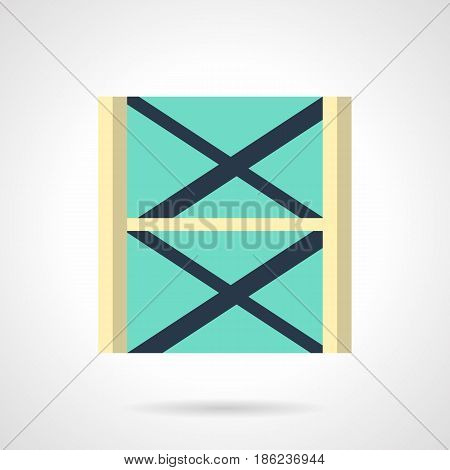 Abstract symbol of stage scaffolding or truss system. Musical festival organization. Flat color style vector icon.