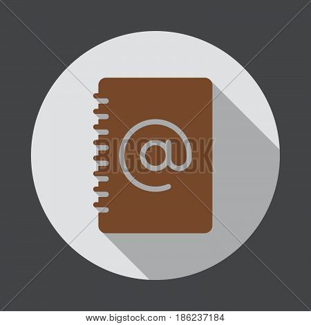 Address book flat icon. Round colorful button circular vector sign with long shadow effect. Flat style design